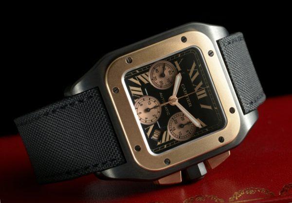 Cartier Santos 100 XL Chronograph Titanium Rose Gold Bezel Reference W2020004