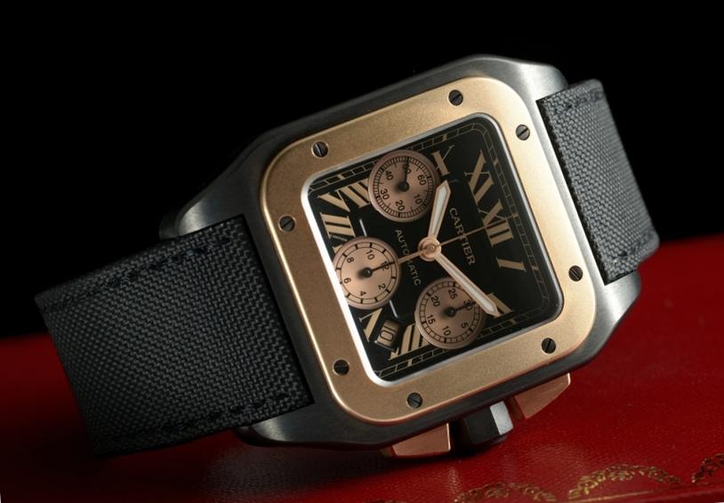 8f03b9829d9 Cartier Santos 100 XL Chronograph Titanium Rose Gold Bezel Reference  W2020004