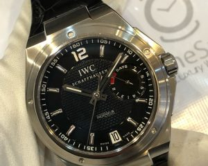 IWC 500501 Big Ingenieur 7 Days Power Reserve 45.5mm in Steel - on Black Alligator Leather Strap with Black Dial
