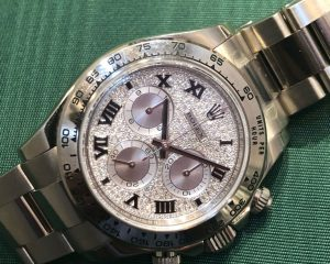 Rolex Daytona 18k White Gold Factory Pave Diamond Dial 116509