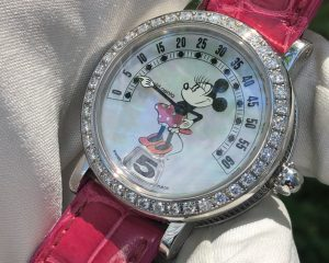 Gerald Genta Jumping Hour Minnie Mouse REF. G 3612 Mother of Pearl Dial RETROGRADE Minutes