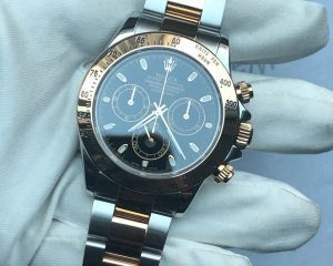 Rolex Daytona Tow Tone 18K/SS Black Dial M Serial with Services Paper