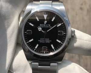 Rolex Explorer I Black Dial 214270 with warranty card