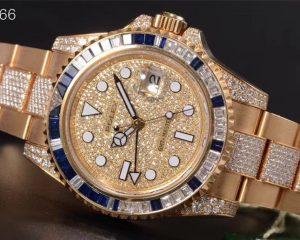 Rolex GMT Master II 116758SA 18K Sapphire Diamond BAGUETTE PAVE Dial & Bracelet