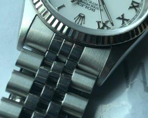 Rolex DateJust Stainless Steel Jubilee Bracelet White Roman Dial 16234
