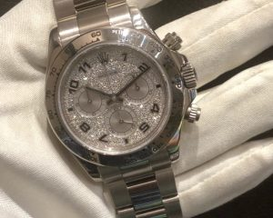 Daytona 18k White Gold Factory Pave Diamond Dial Arabic 116509