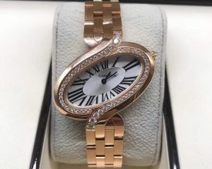Cartier Delices De Diamond 18k Rose Gold Quartz Ladies Watch WG800006