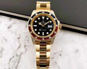 Rolex GMT Master II 116758SARU 18K Sapphire Diamond BAGUETTE