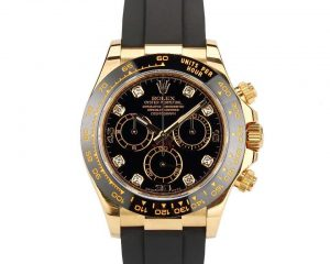 Daytona Yellow Gold Black Diamond Dial Ceramic Bezel Oysterflex 116518LN