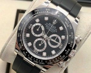 Rolex Daytona White Gold Black Diamond Dial Ceramic Bezel Oysterflex 116519LN