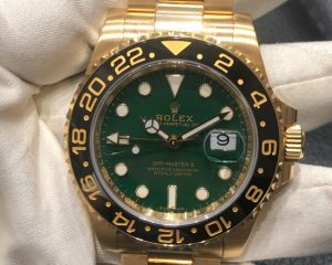 Rolex GMT Master II 18K Yellow Gold 116718LN Green Dial