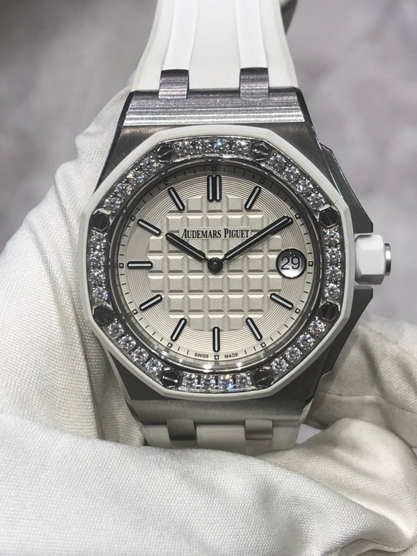 Audemars Piguet Royal Oak Offshore White Dial Diamonds Bezel 37mm 67540SK.ZZ.A010CA.01