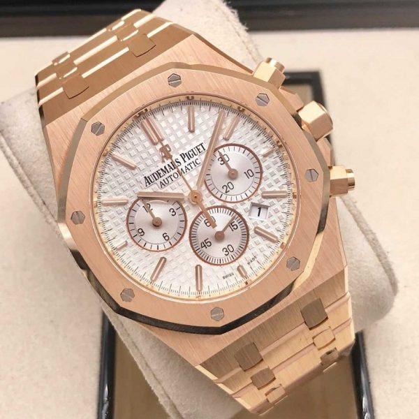 Audemars Piguet Royal Oak Chronograph 18 kt Rose Gold White Dial 41mm 26320OR.OO.1220OR.02