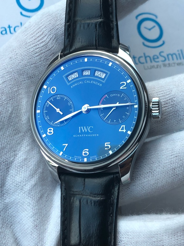 IWC Portuguese Annual Calendar Stainless Steel Blue Dial IW503502