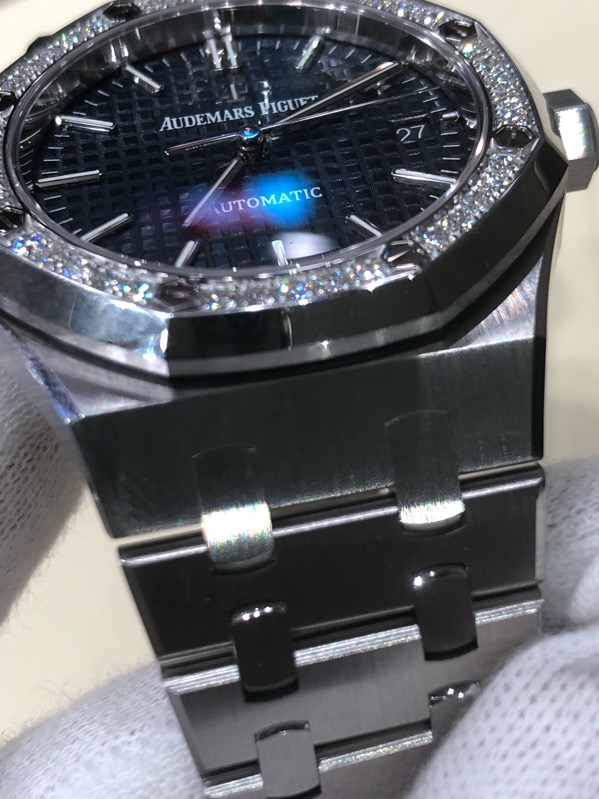 Audemars Piguet Royal Oak Blue Dial 37mm Diamond Bezel 15451ST.ZZ.1256ST.03