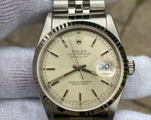 Rolex DateJust Stainless Steel Jubilee Bracelet White Stick Dial 16234