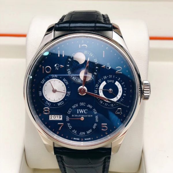IWC Portuguese Perpetual Calendar White Gold in Blue Dial IW503203