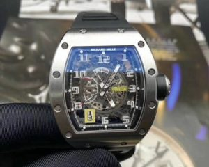RM 030 Titanium on Black Rubber with Grey Skeleton