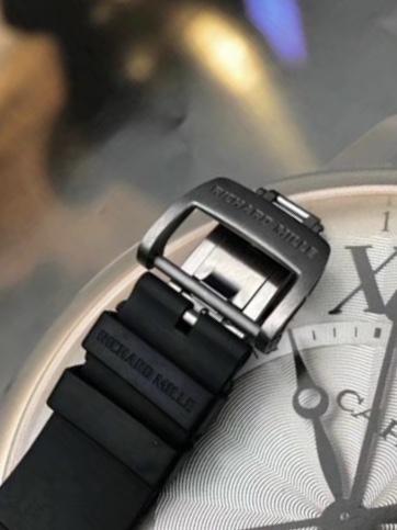 RM 030 Titanium on Black Rubber with Grey Skeleton