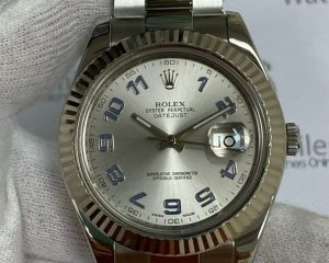 Rolex Datejust II Silver Dial with Blue Arabic Numerals 41mm