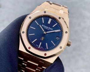 "Audemars Piguet ROYAL OAK ""JUMBO"" EXTRA-THIN Blue Dial Rose Gold 15202OR.OO.1240OR.01"