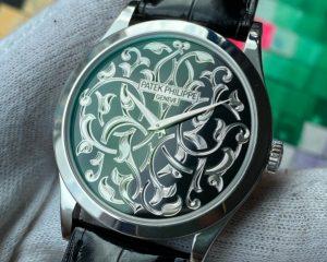 Patek PhilippeCalatrava Engraved Black Enamel Dial Platinum 5088/100P-001