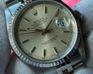 Rolex DateJust Stainless Steel Jubilee Bracelet Silver Stick Dial 16234