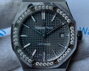 Audemars Piguet Royal Oak Grey Dial 37mm Diamond Bezel 15451ST.ZZ.1256ST.02