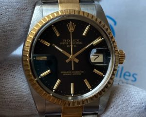 Rolex Oyster Perpetual Date Tow Tone Black Dial 15053
