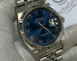 Rolex DateJust Stainless Steel Jubilee Bracelet Blue Roman Dial 16234