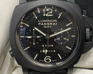 Brand: PANERAI Reference : PAM317 ; PAM00317 Model: PAM317 Luminor 1950 Chrono Monopulsante 8 Days GMT Ceramic Size : 44mm Function: 8 Days, GMT, Chronograph Case: Ceramic Movement : Mechanical Manual (P.2004) Condition: 98% Remarks: Box & Warranty Booklet (2018) , Extra Strap