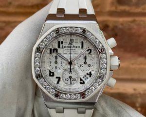 Audemars Piguet Royal Oak Offshore Lady Chronograph White Dial Diamond Bezel 26048SK.ZZ.D010CA.01