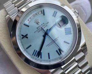 Day-Date 40 Platinum Ice Blue Quadrant Motif 228206-0001