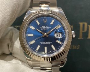 Datejust II Blue Dial with White Stick Index 116334 41mm