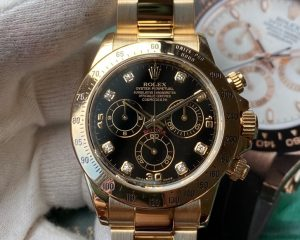 Rolex Daytona Black Dial Diamond Index Yellow Gold 116528