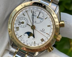 OmegaSpeedmaster Day-Date Moonphase White Dial Chronograph 18K/SS 3730.20
