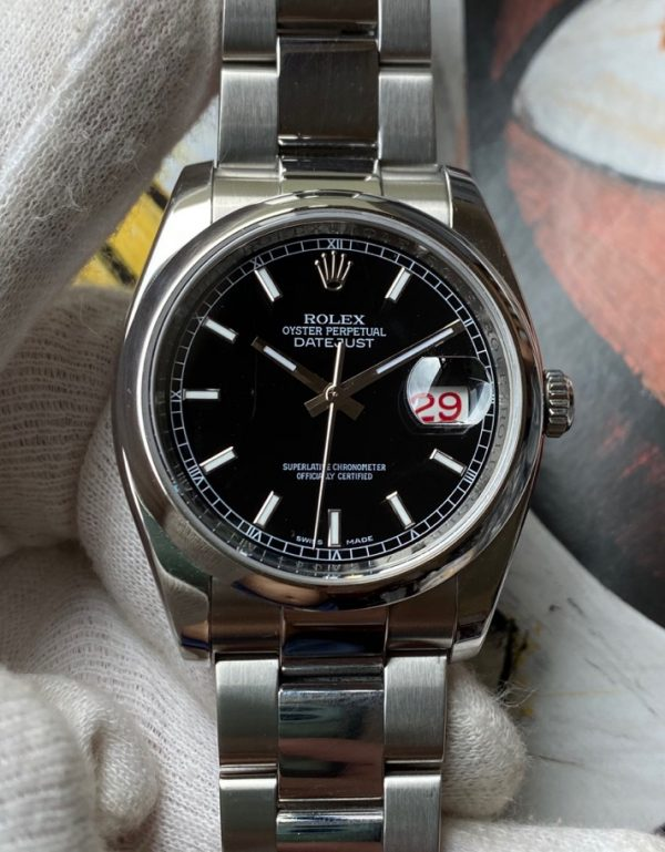 Rolex Oyster Perpetual Datejust 116200 Black Dial 36mm Red /Black Date