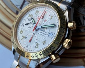 Omega Speedmaster Date White Dial Chronograph 18K/SS 3313.33